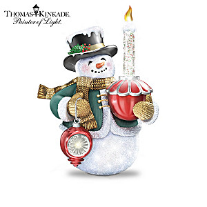 Thomas Kinkade Snowman Figurines Holding Lighted Ornaments
