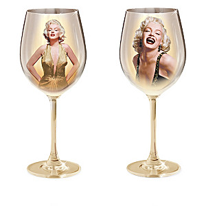 Marilyn Monroe Wine Glass Collection With Portraits