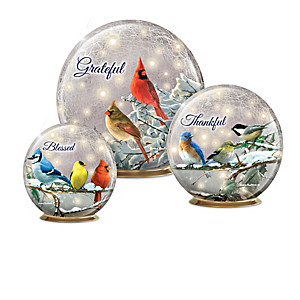 Illuminated Hautman Brothers Songbird Glass Globe Collection