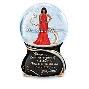 Porcelain Musical Glitter Globes With Michelle Obama Quotes