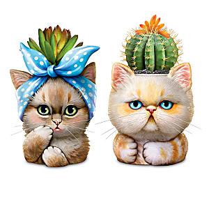 """""""Purr-Fect Planters"""" Lifelike Artificial Succulents"""
