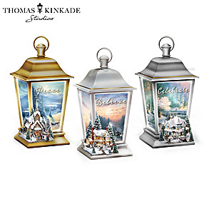 Thomas Kinkade Holiday Traditions Illuminated Lanterns