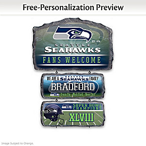 Seattle Seahawks Personalized Stone-Look Welcome Sign