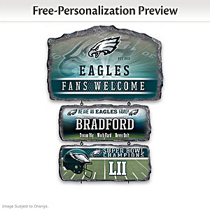 Philadelphia Eagles Personalized Stone-Look Welcome Sign