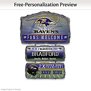 Baltimore Ravens Personalized Stone-Look Welcome Sign