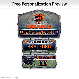 Chicago Bears Personalized Stone-Look Welcome Sign