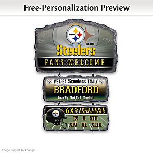 Pittsburgh Steelers Personalized Stone-Look Welcome Sign