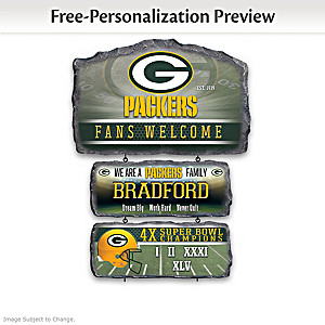 Green Bay Packers Personalized Stone-Look Welcome Sign