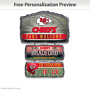 Kansas City Chiefs Personalized Stone-Look Welcome Sign