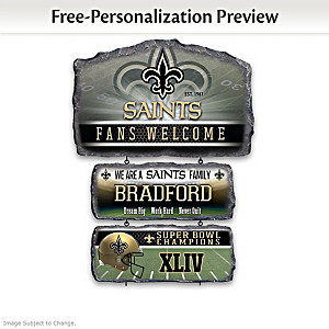 New Orleans Saints Personalized Stone-Look Welcome Sign