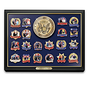 Donald Trump Pin Collection With Collector Cards And Display