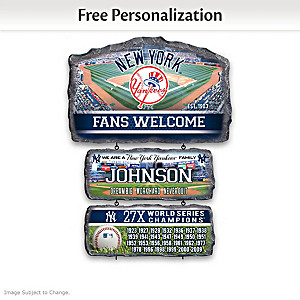 New York Yankees Personalized Stone-Look Welcome Sign