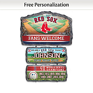 Boston Red Sox Personalized Stone-Look Welcome Sign