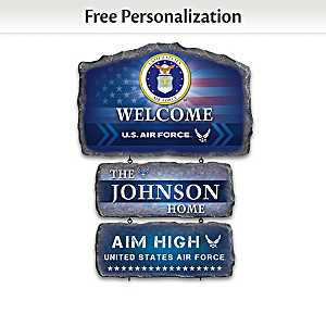 U.S. Air Force Personalized Stone-Look Welcome Sign
