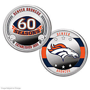 Denver Broncos Proof Coin Collection With Display