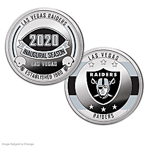 Las Vegas Raiders Proof Coin Collection With Display