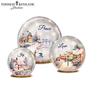 Thomas Kinkade Winter Treasures Illuminated Glass Globes