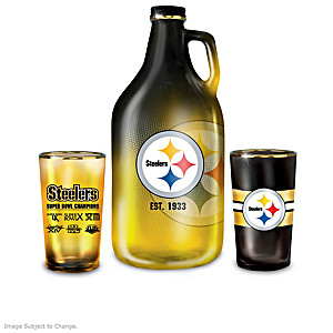 Pittsburgh Steelers Pint Glasses And Growler Collection