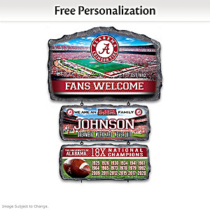Crimson Tide Personalized Stone-Look Welcome Sign