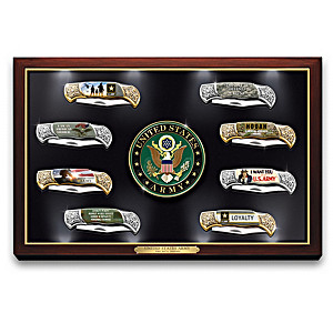 U.S. Army Knife Collection With Illuminated Display