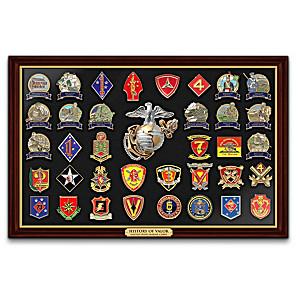 U.S. Marine Corps Pin Collection With Custom Display Case