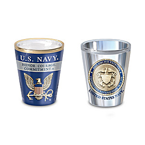 """""""History Of The U.S. Navy"""" Shot Glass Collection"""