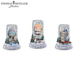 Thomas Kinkade Candleholders With Flameless Tealights