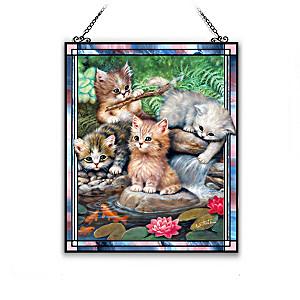 """Jürgen Scholz """"Playful Kittens"""" Suncatcher Collection"""
