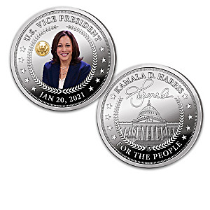 Kamala Harris Proof Coin Collection With Wooden Display Box