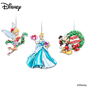 """Disney """"Sparkle All the Way"""" Faceted Ornament Collection"""