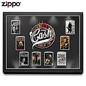 """Johnny Cash """"Ring Of Fire"""" Zippo® Lighters With Display"""
