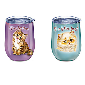 Stainless Steel Tumbler Collection With Kayomi Harai Cat Art
