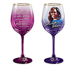 Michelle Obama Inspiration Wine Glasses With 12K-Gold Rims