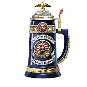 """USMC """"Salute To Heroism"""" Porcelain Stein Collection"""