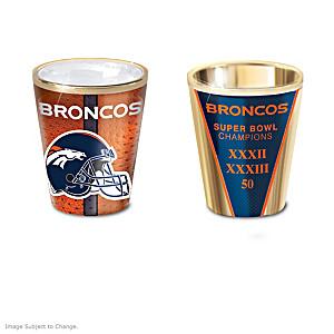 Denver Broncos Shot Glasses With Colorful Finishes