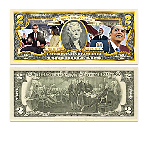 President Obama $2 Bill Currency Collection With Display Box