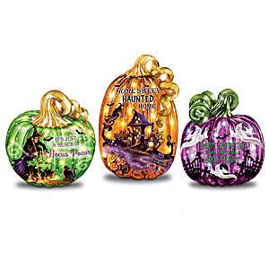 Dona Gelsinger Illuminated Glass Pumpkin Collection