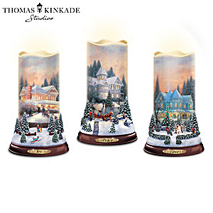 Thomas Kinkade Flurries Of Light Flameless Candle Collection