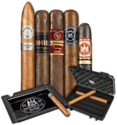 Five Cigar Premium With Case And Ashtray Sampler