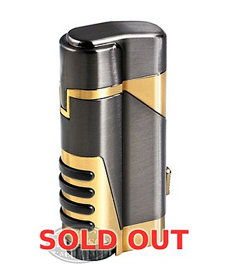 Gun Metal/Gold Double Torch Lighter With