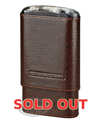 Andre Garcia 4 Finger Brown Leather Lizard Horn Top Case