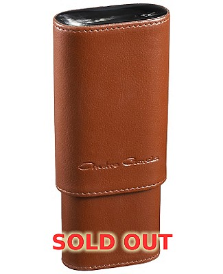 Andre Garcia Tan 3 Finger Leather Horn Top Cigar Case