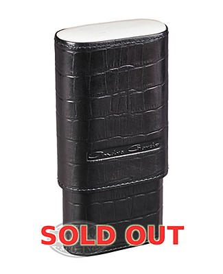 Andre Garcia 3 Finger Black Crocodile Pattern Leather Horn Top Cigar Case