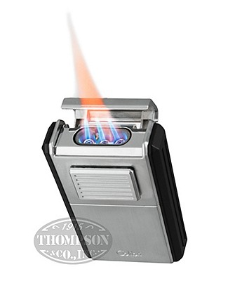 Colibri Astoria Brushed Chrome Triple Jet Flame With Cigar Cutter