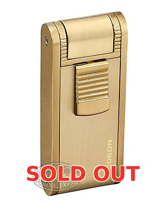 Jobon Gold Double Torch Lighter With Punch