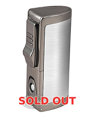 Silver Triple Torch Lighter With Punch Cutter