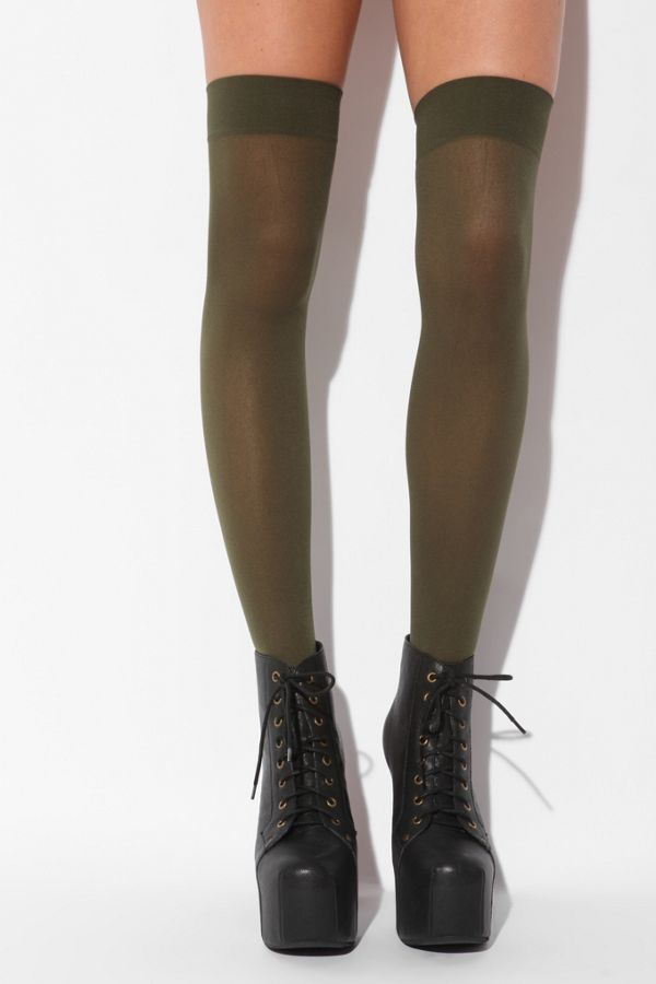 fe37428f6361a Nylon Opaque Thigh High Sock   Urban Outfitters