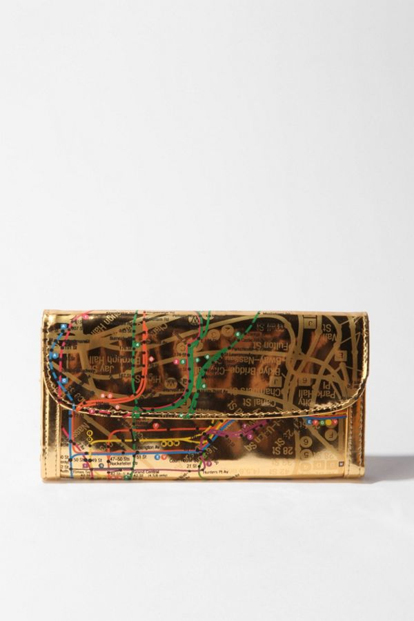 Nyc Subway Map Zippered Wallet.Nyc Metro Checkbook Wallet Urban Outfitters