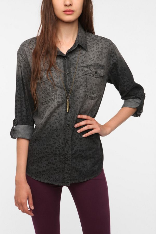 297310d4c BDG Leopard Print Chambray Button-Down Shirt | Urban Outfitters