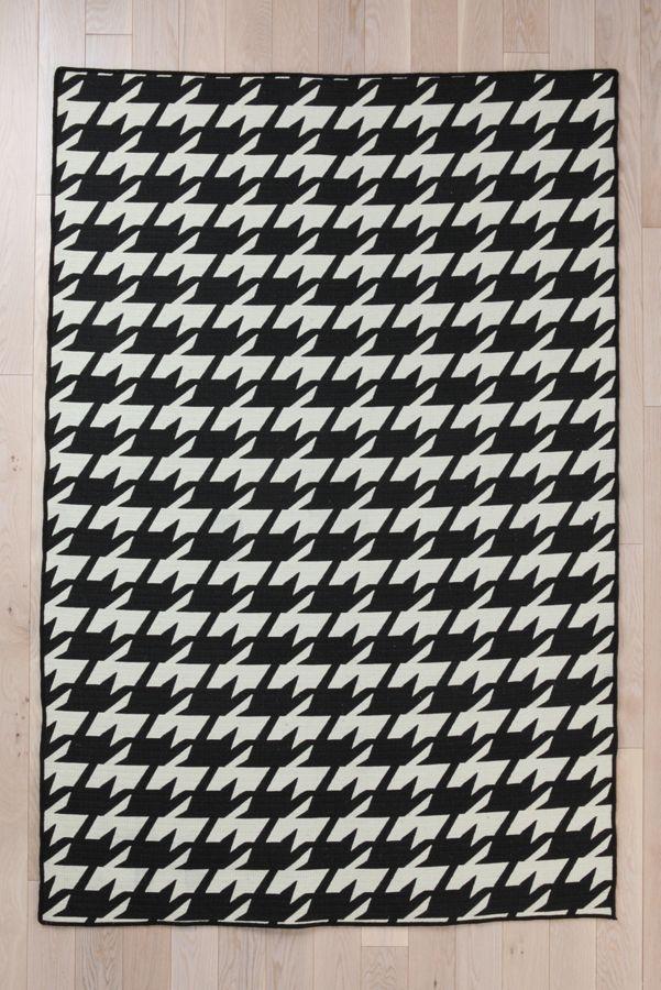 Wool Flat Weave Houndstooth Rug